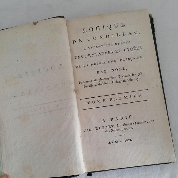 LOGIQUE DE CONDILLAC 1802 ÉDITION ORIGINALE 2