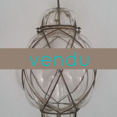 Suspension lanterne en verre soufflé