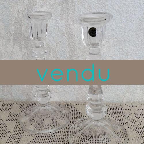 Paire de bougeoirs en cristal d'Arques