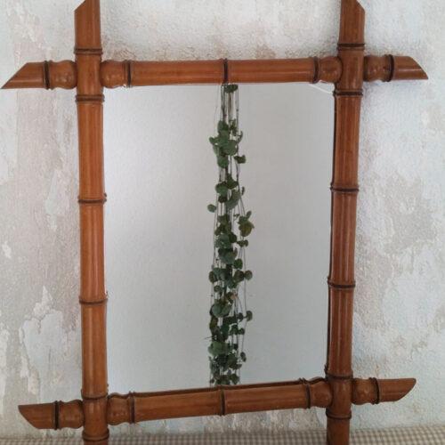 Petit miroir bambou ancien
