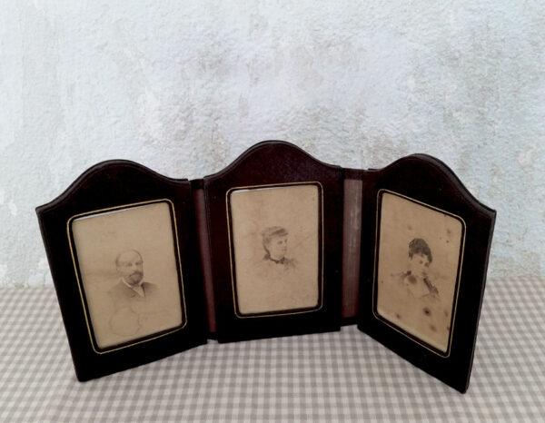 Cadre porte-photo triptyque ancien